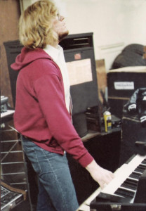 Eric Scheda at the Music Mall; December 1979. Hammond Organ with Leslie Speaker, Fender Rhodes & Moog Sonic Six