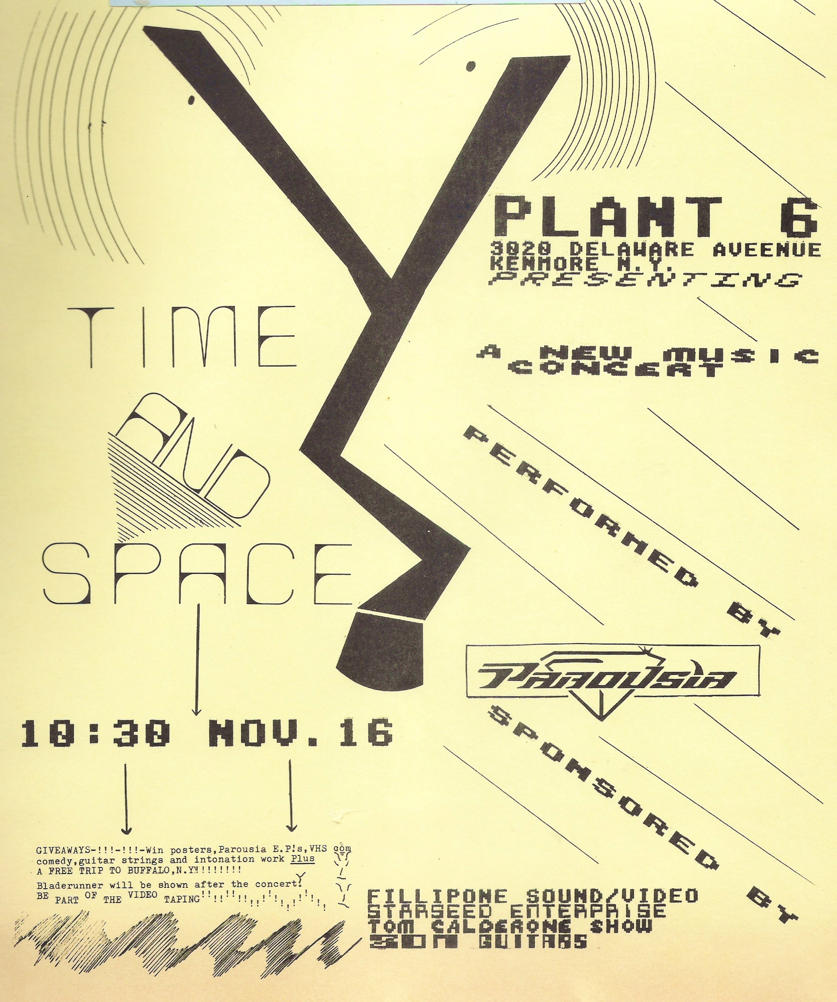 (10) Flyer- Plant 6 -'Time & Space' 11.16.1985