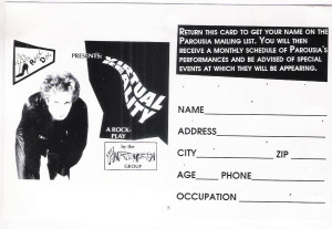 The Parousia Group Mailing List Sign-Up Card 1990