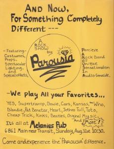 Parousia. Melanies Flyer 08.31.1980