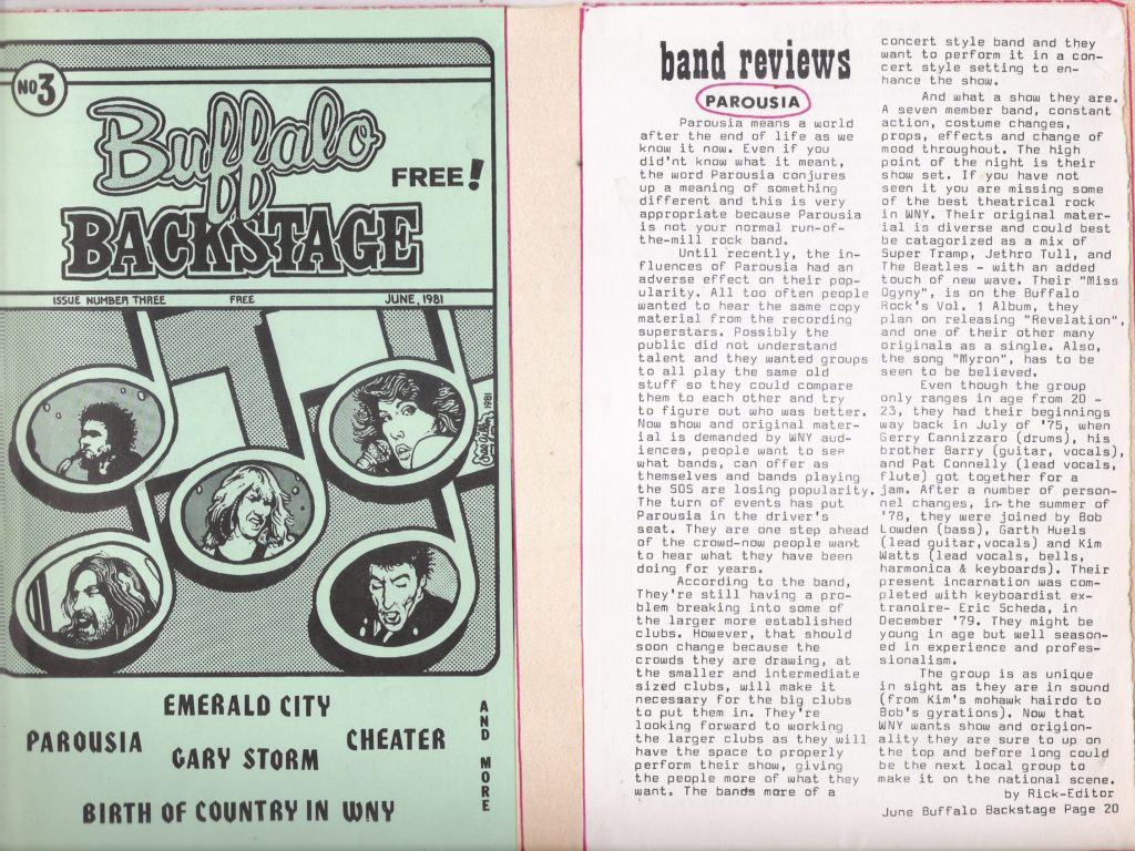 Band review of PAROUSIA featured in Buffalo Backstage Magazine, published June 1981