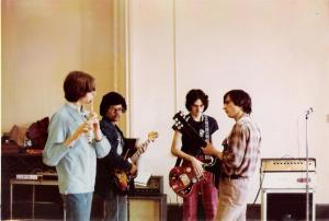 Parousia at rehearsal - All Saints 1976 - Patt, Barry, Mike, John