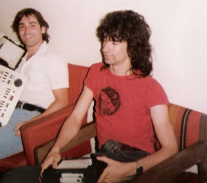 Garth Huels in studio for editing 'Keep Running' video w Gregg Filippone -Sept. 1984
