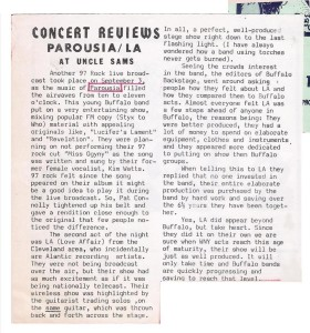 Buffalo Backstage Oct. Review of Uncle Sams Live Show Broadcast October 1981