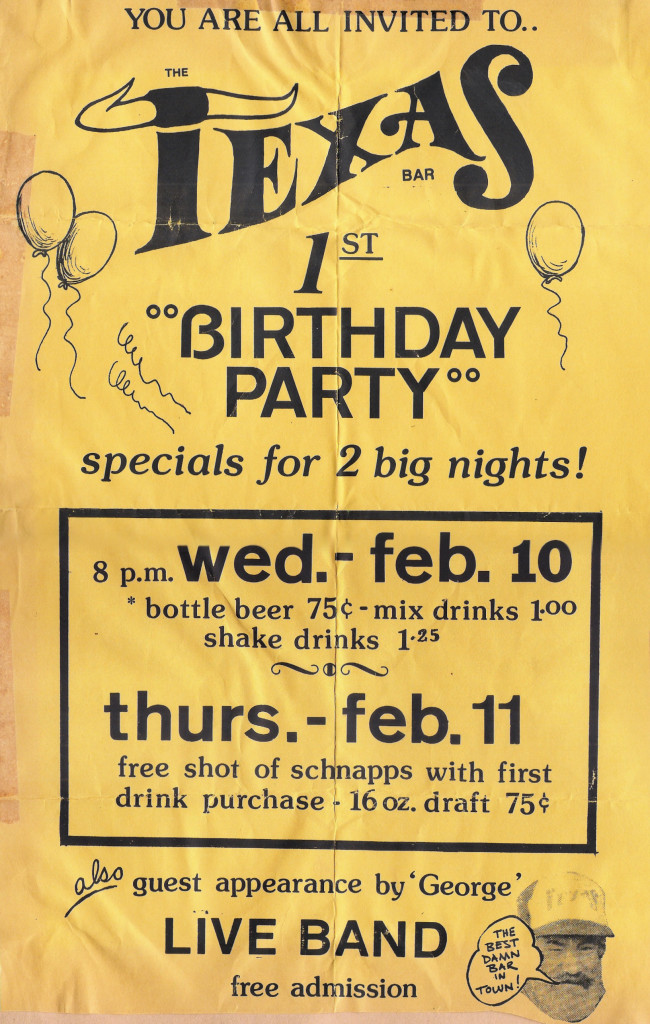 The Texas, Birthday Party Flyer 02.10.1982