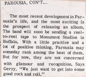 Parousia- Sudent Prints Dec. 17, 1976.