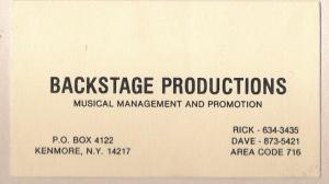Backstage Productions. Rick Falcowski & Dave Buffamonti