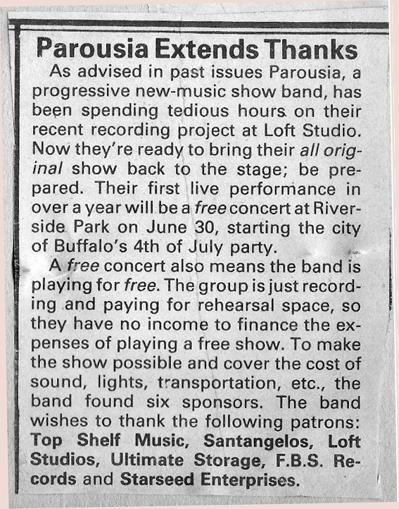 (5) Buffalo Backstage article Loft Studios February 1984