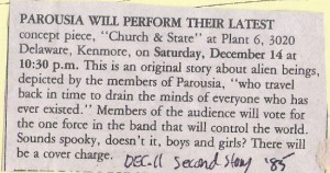 Second Story Magazine article -Church & State' Dec. 11, 1985