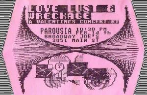 Love, Lust & Wreckage at Broadway Joe's -Invite 02.14.1986