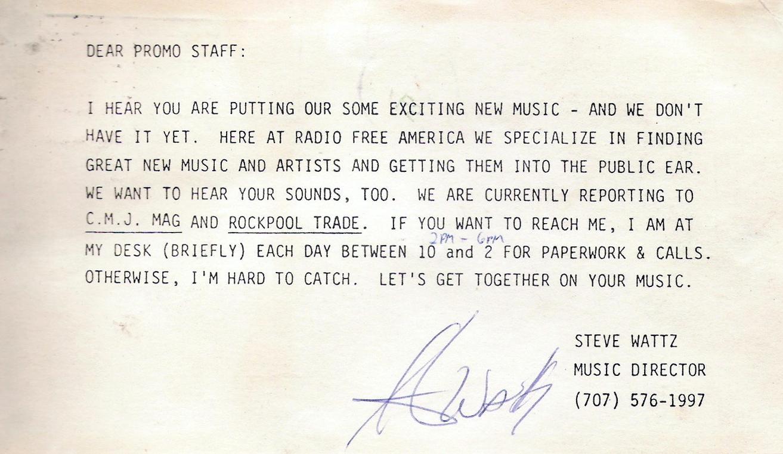Steve Watz - Radio Free America 1984