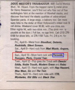 BAM Magazine Band Listing April 1, 1988