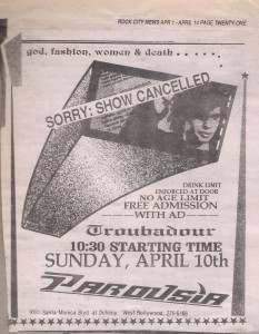 Troubadour Sunday April 10, 1988