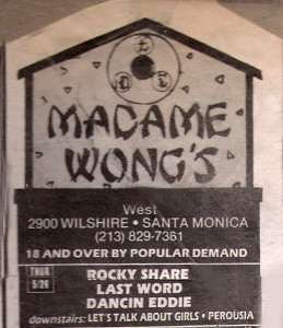 La Weekely - Madame Wongs Band listing - May 26 1988