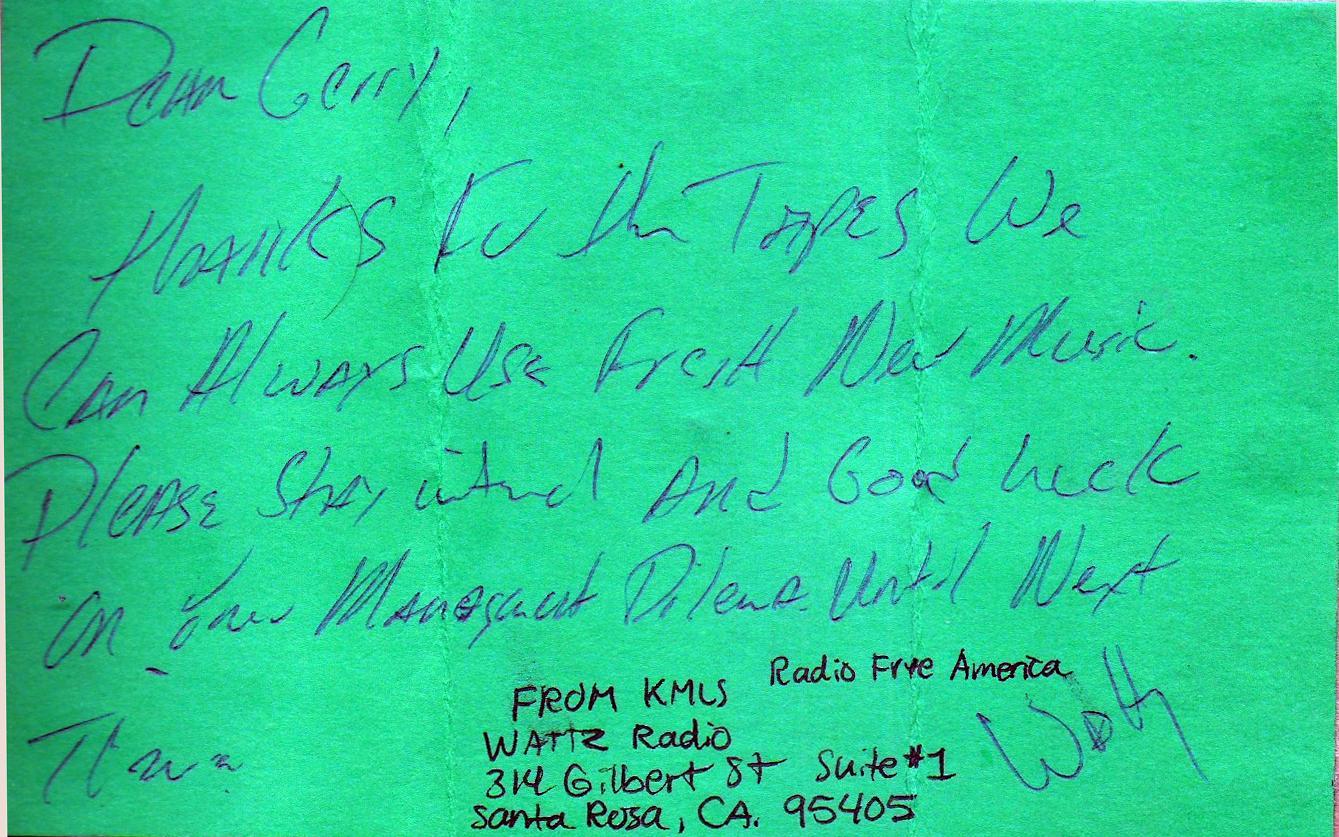 KMLS- FM. Santa Rosa, CA 1985