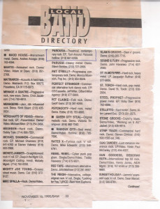 Bam Local Band Directory - 11.16.1990