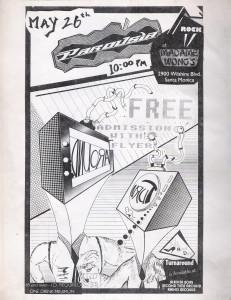 Flyer - Parousia at Madame Wong's May 26, 1988
