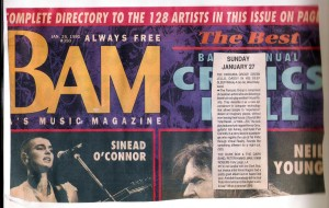 Review in BAM magazine. January 25 1991