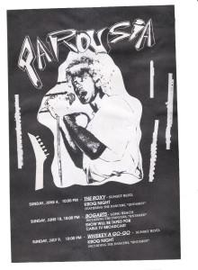 Flyer for Roxy, Bogarts, Whisky_v2 June 1989