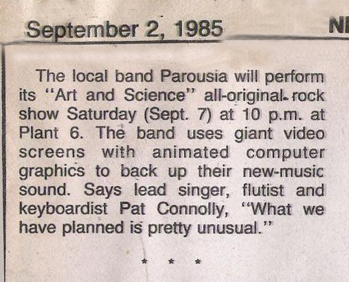 """Breaking News - Parousia Perfoms """"Art and Science"""" at Plant 6 - Film at 11:00!"""