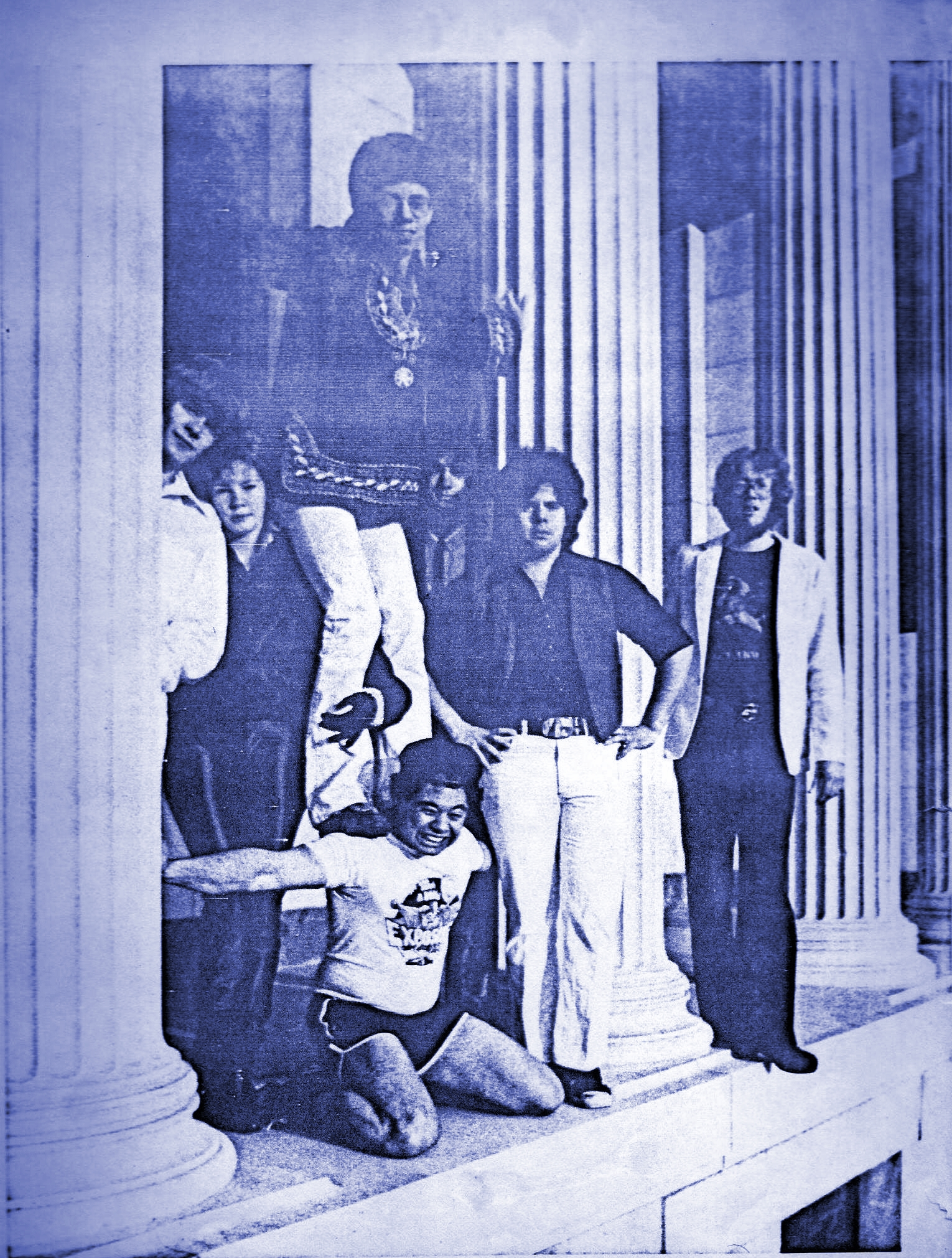 Parousia brings down the house at Melanie's Pub August 1980: Front- Barry, Gerry, Eric. Back- Patt, Kim, Bob & Garth