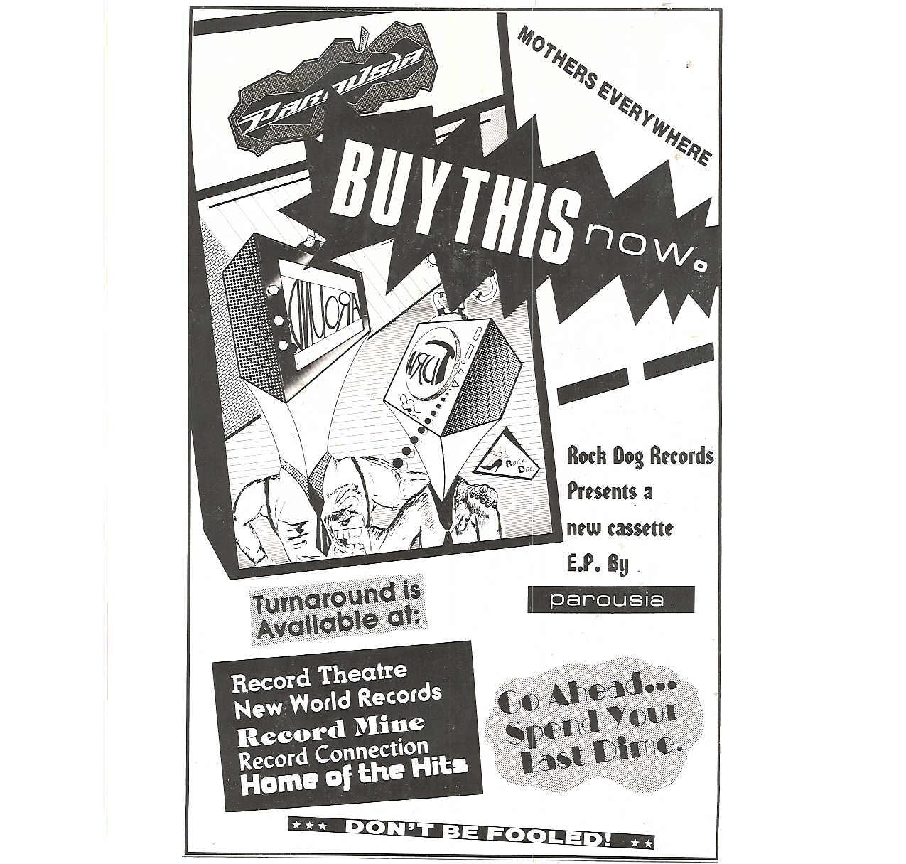 1988 Buffalo Ad for Parousia's Turnaround EP