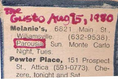 Buffalo Evening News 'Gusto' - Melanie's 08.17.1980