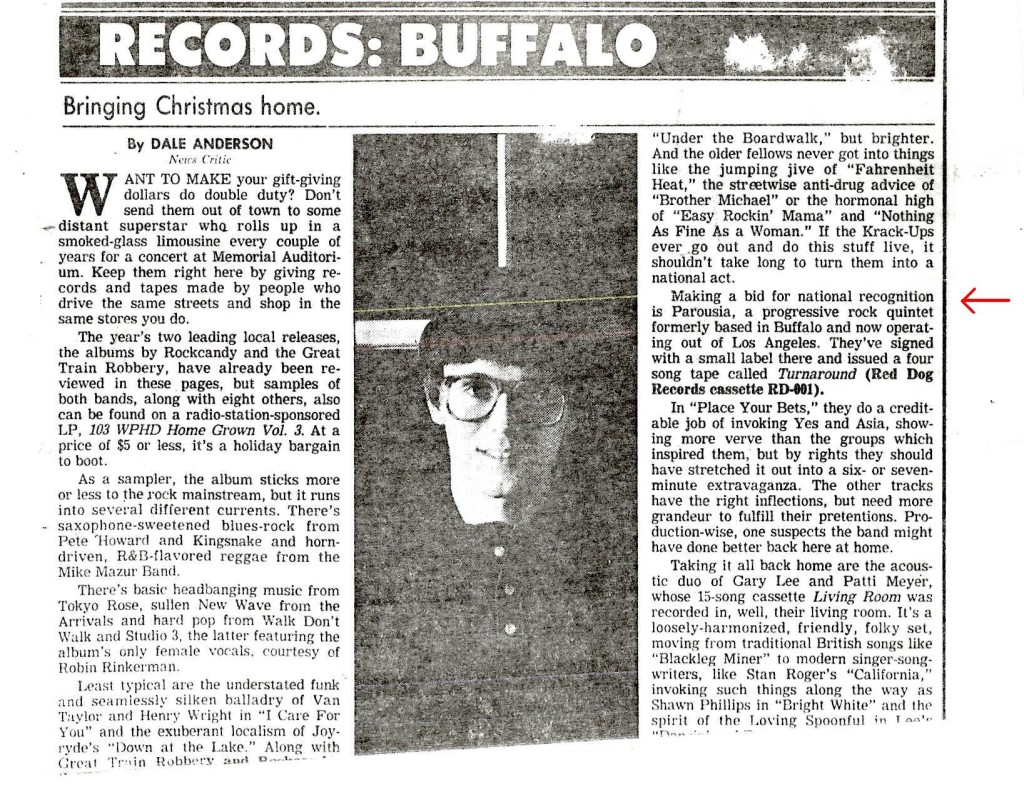 Parousia in Buffalo News article by Dale Anderson Dec.1987