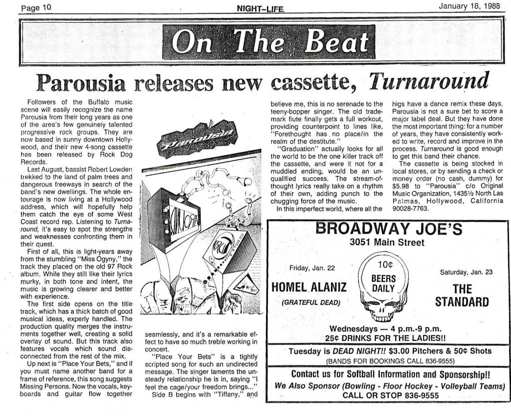 Buffalo Nightlife review on 'Turnaround' EP published Jan. 1988