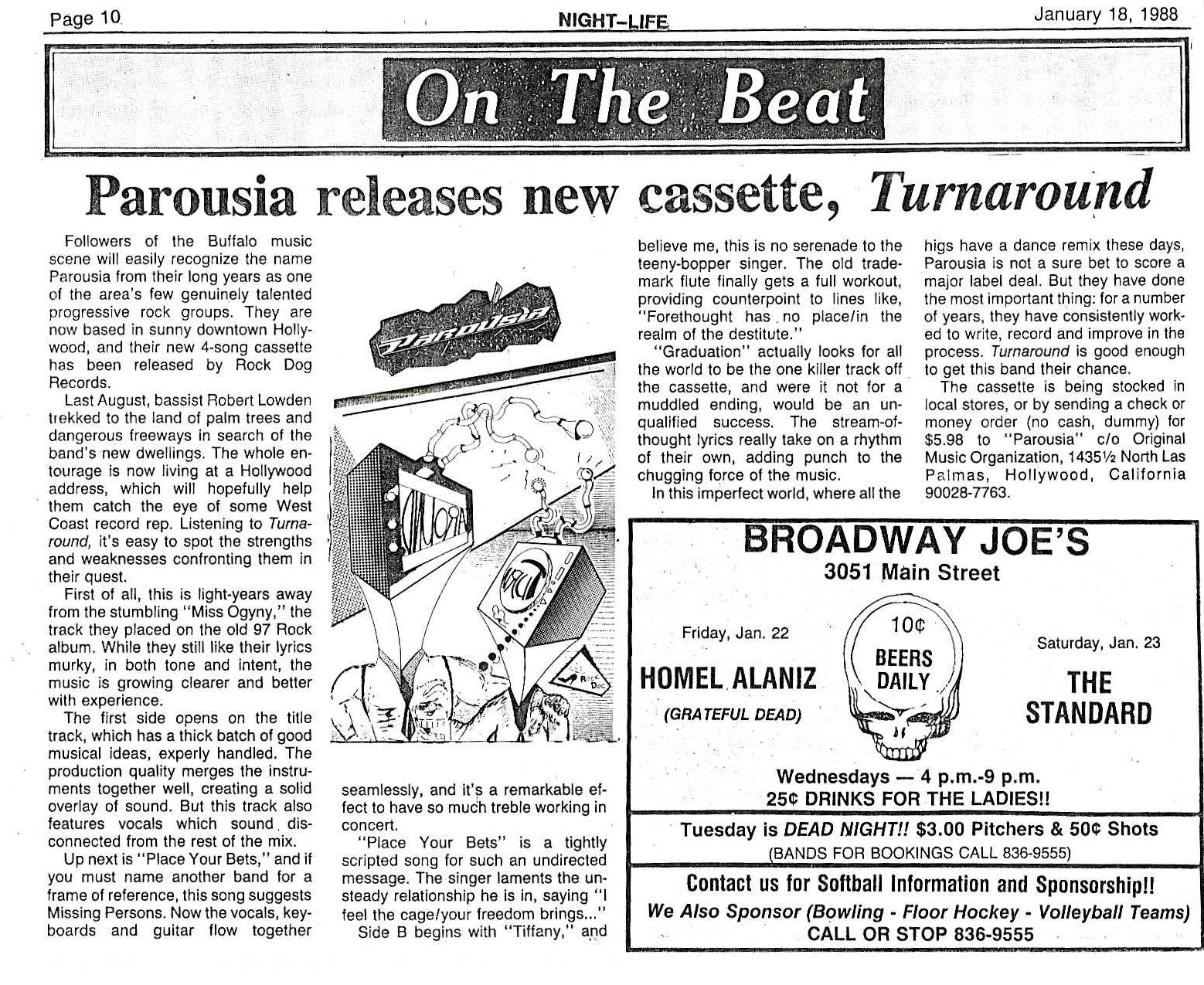 """Buffalo Nightlife reviews Parousia's """"Turnaround"""" EP Jan. 1988"""