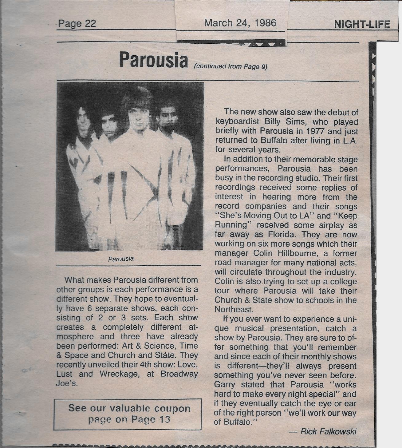 Buffalo Nightlife show original review - (Part2) 03.24.86