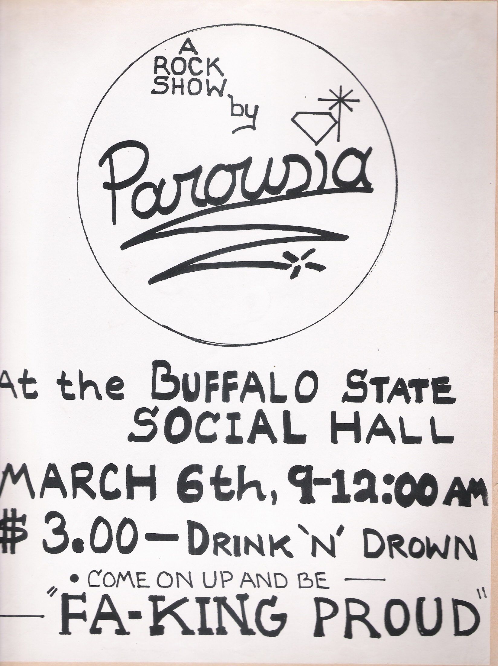 "Parousia performs at Buffalo State College ""Drink-and-Drown"" on 03.06.81"