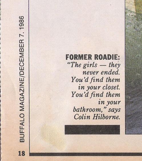 Colin Hilborne . Former roadie for 'The Faces' & 'Elton John'