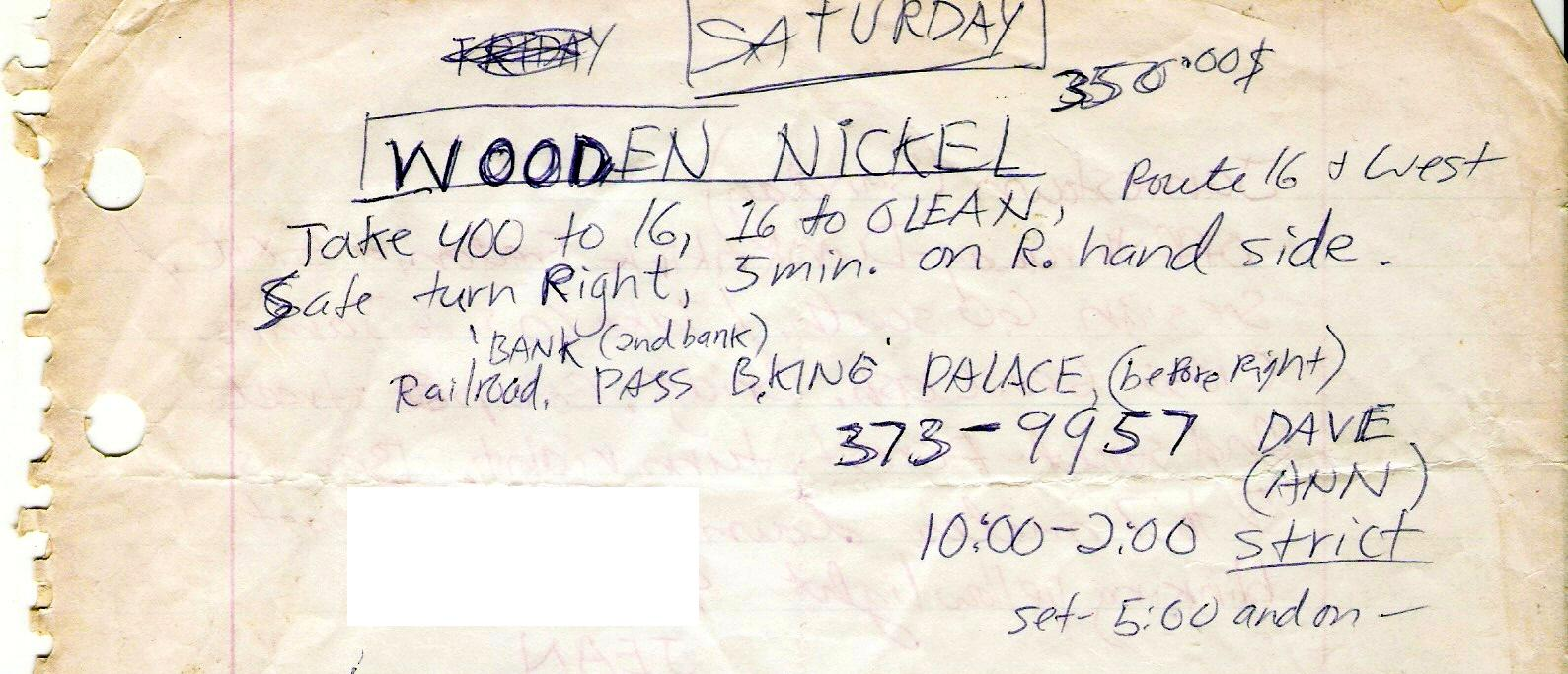 Directions to the Wooden Nickel - Olean, NY 09.19.1981