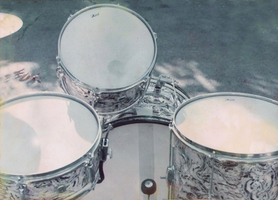 Gerry's first drum Kit. 'Kent drums' July 14th 1975
