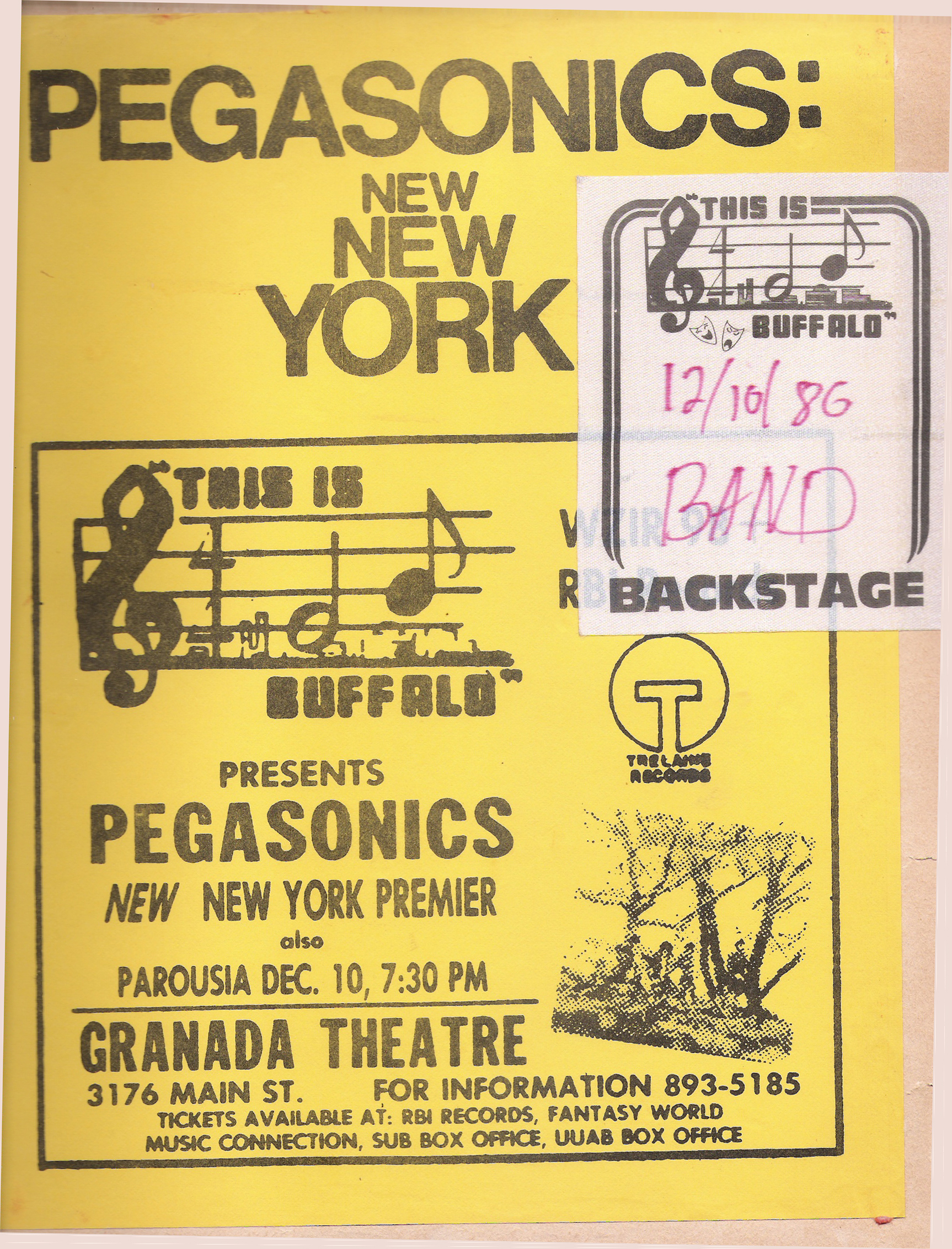 Parousia had the honor of opening for Pegasonics at the Granada Theater 12.10.1980