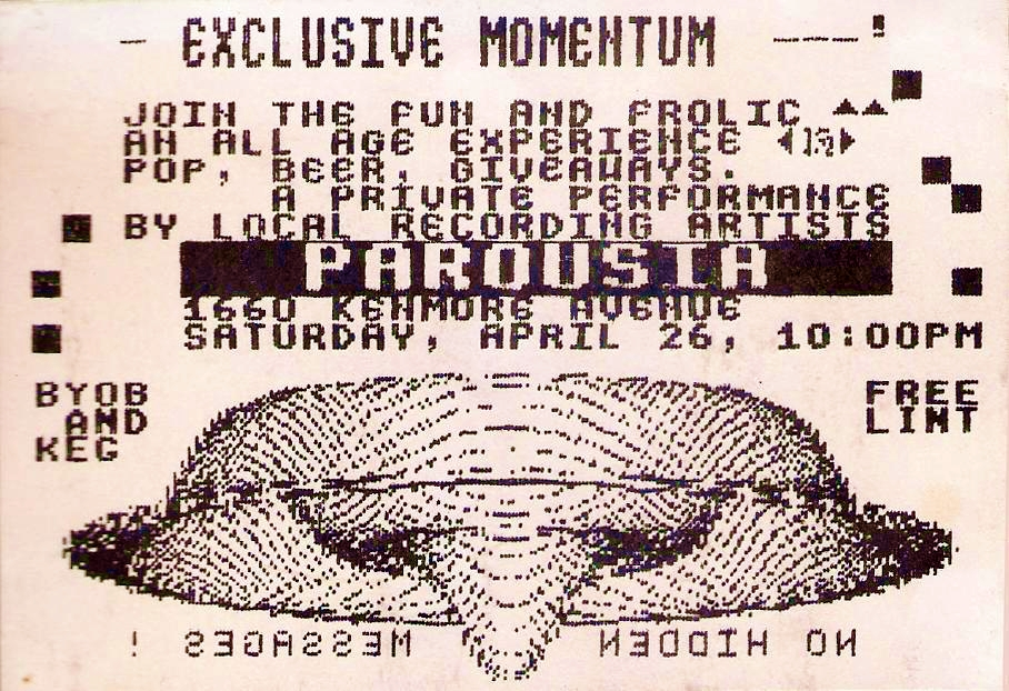 "Invite card for Parousia's ""Exclusive Momentum show at The Chamber - 4.26.1986"