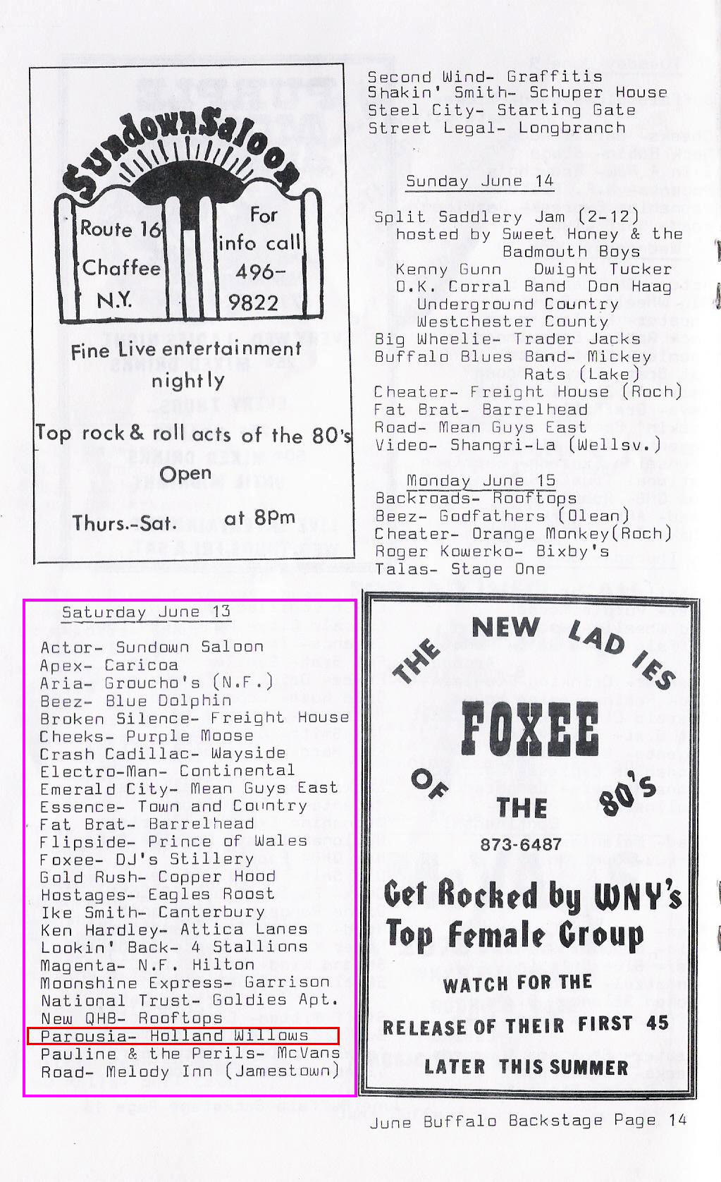 June Buffalo Backstage 06.13.1981