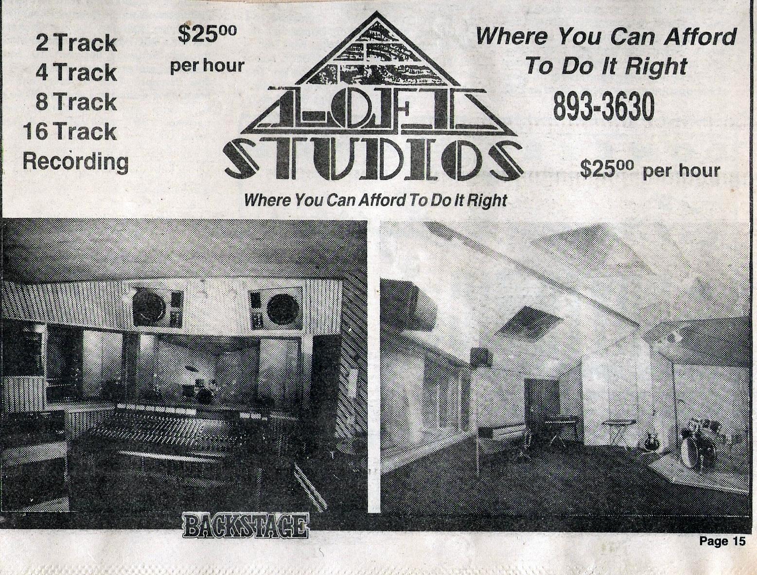 Loft Studios ad 1984