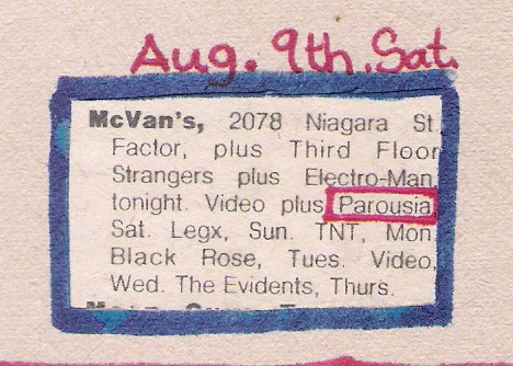 Mc Vans Saturday, August 9th 1980 Buffalo Evening News 'Calendar' listing