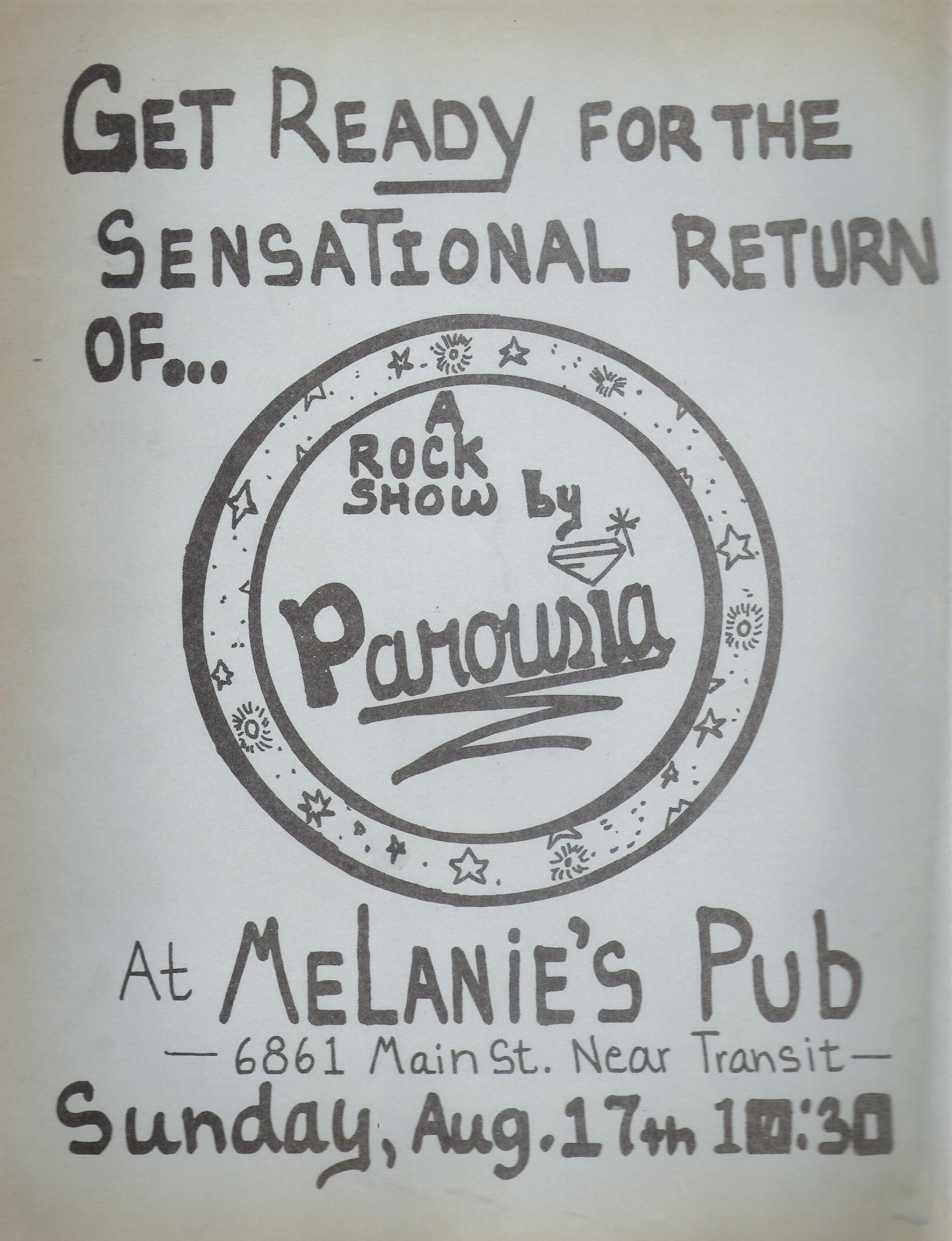 Parousia returns to Melanie's; Flyer- August 17th, 1980