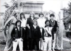 Patt Connolly, Kim Watts, Eric Scheda, Garth Huels, Bob Lowden - Parousia photo session at Forest Lawn Cemetery - August 1980 (photo by M. Falcowski)