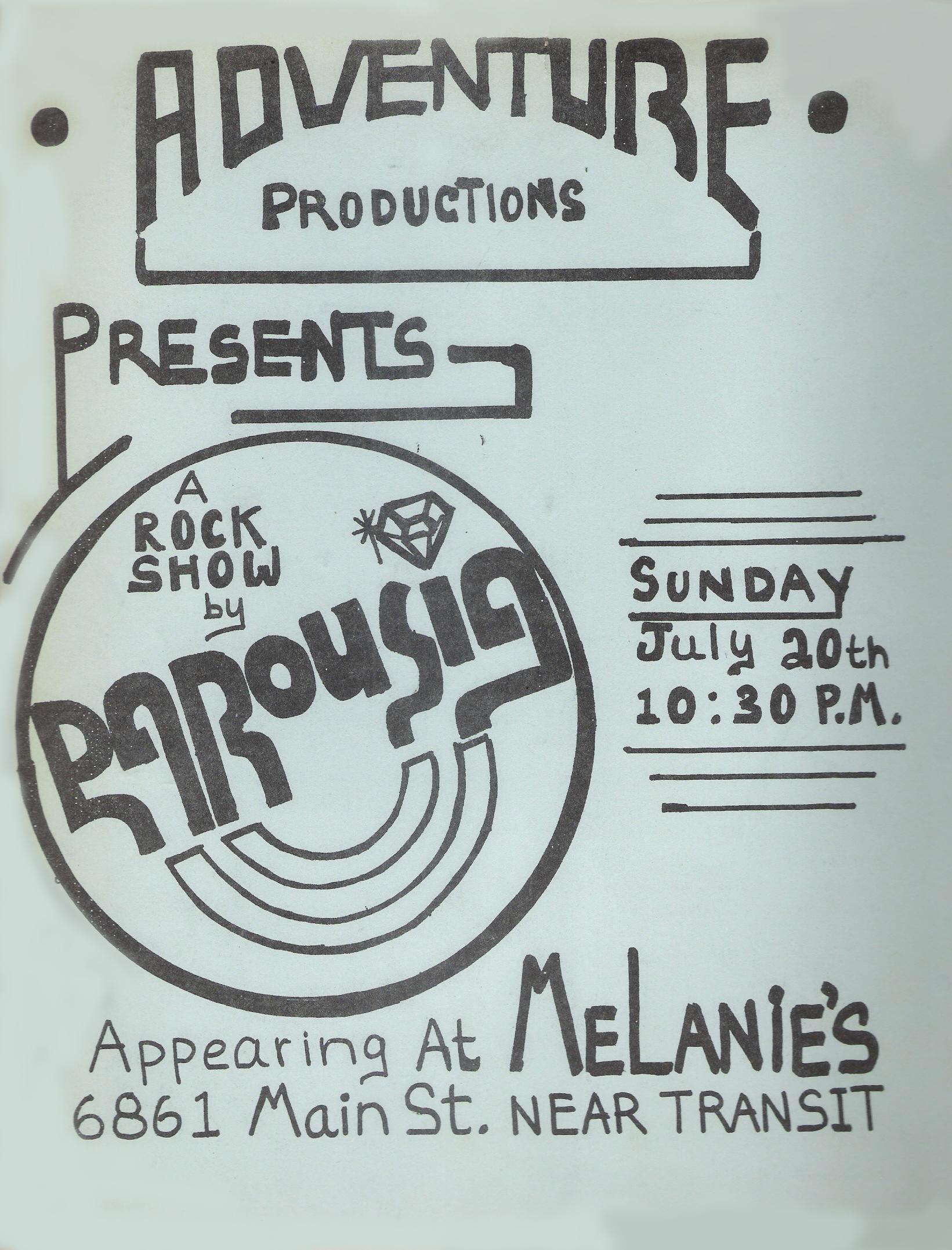 Parousia Melanies Flyer 07.20.1980