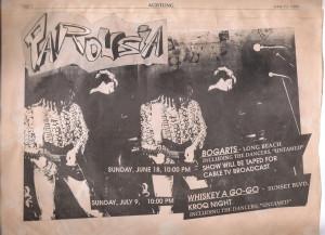 Parousia at Bogarts & Whiskey a-go-go - Achtung Magazine June 10, 1989