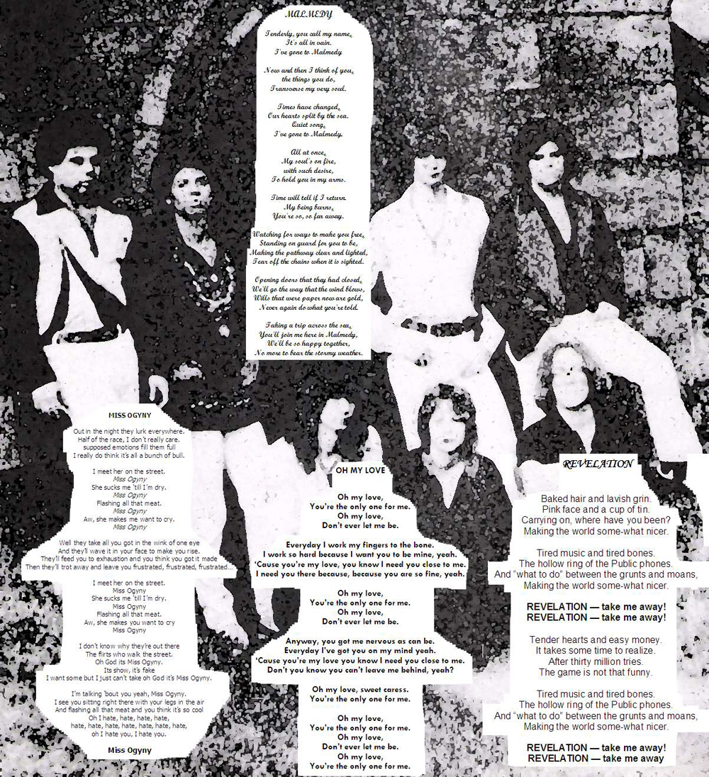 Lyrics from the four songs recorded at Filippone Sound