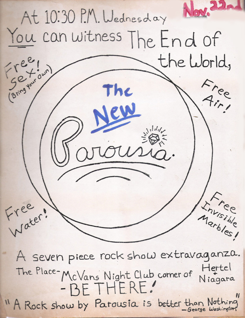 Parousia at McVans - First show at McVans 11.22.1978 Classic Low-Tech Flyer
