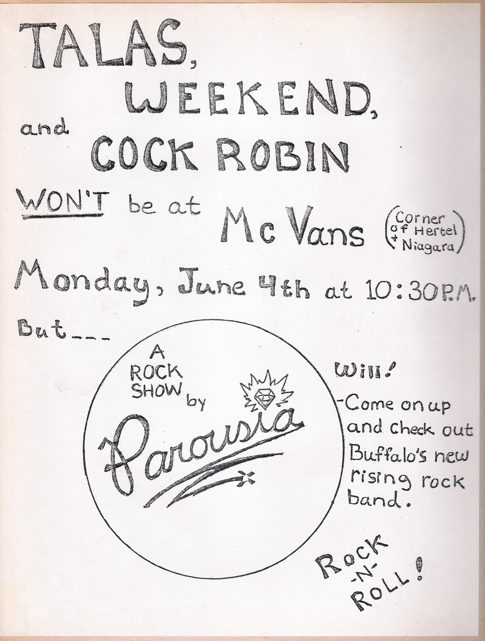 Parousia at McVans Monday June 4th, 1979