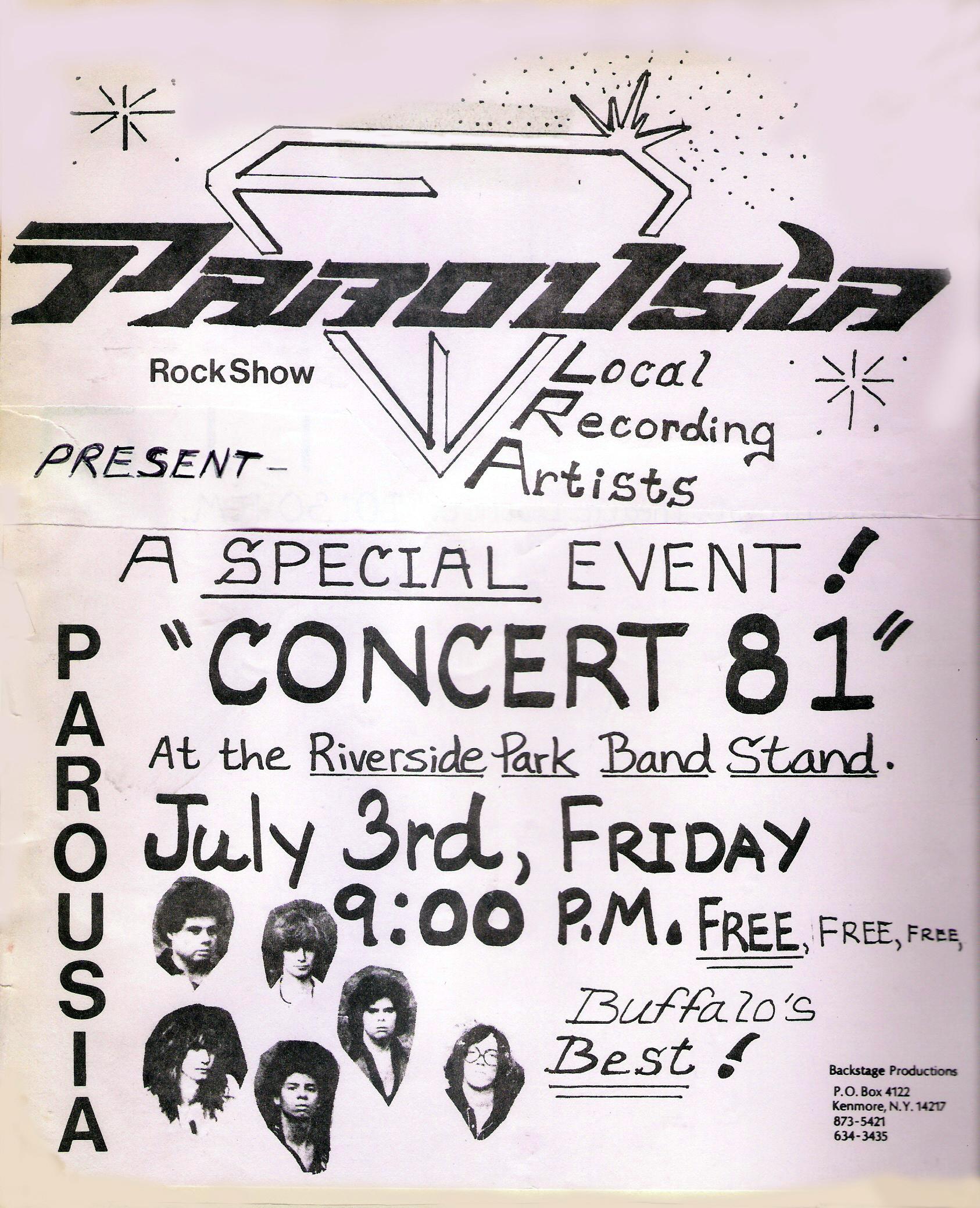 Parousia at Riverside park flyer