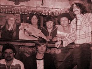 Patt Conolly, Kim Watts, Dave Maltbie, Garth Huels, Bob Lowden - Parousia photo session (Kim's basement) July 1979