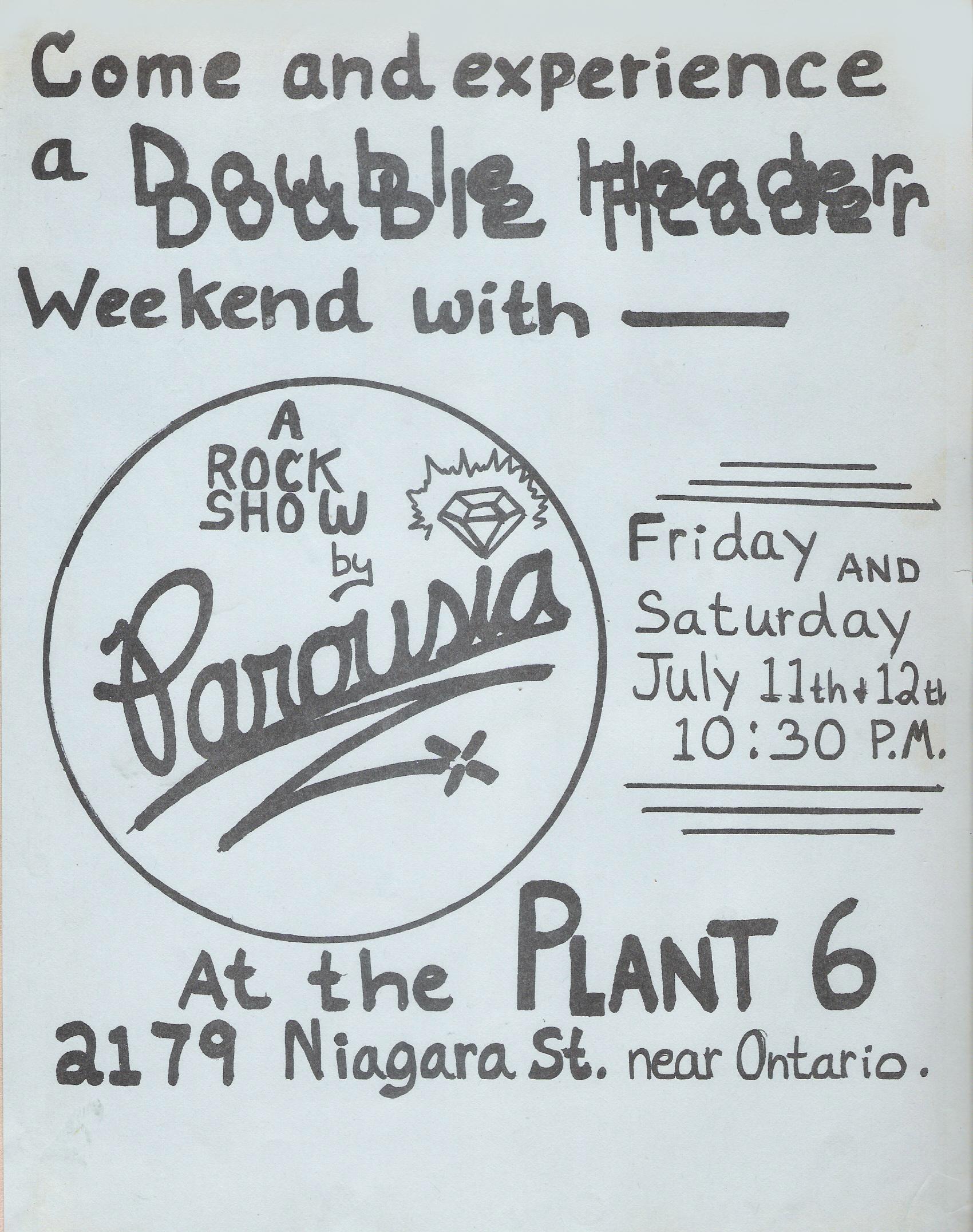 Parousia Flyer - Plant 6, (Niagara Street) July 11th & 12th 1980